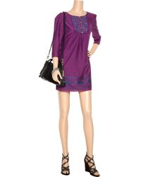 Tibi Purple Nina Embroidered Cotton and Silk-blend Dress
