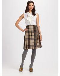 Tory Burch | Brown Lula Plaid A-line Skirt | Lyst