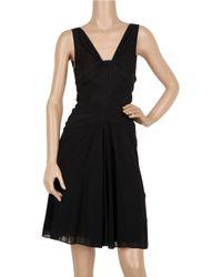 Zac Posen Black Pleat-detailed Silk-blend Dress