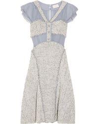 Zac Posen Blue Silk-paneled Bouclé-tweed Dress
