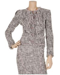 Zac Posen Gray Silk-blend Tweed Frayed-edge Jacket