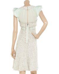 Zac Posen White Bouclé and Silk-chiffon Dress