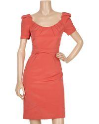 Zac Posen Orange Pleat-detailed Silk-blend Dress