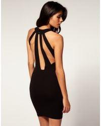 ASOS Collection - Black Asos Bodycon Dress Slash Back - Lyst