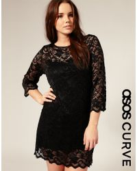 ASOS Collection | Black Asos Curve Slash Neck Lace Dress | Lyst