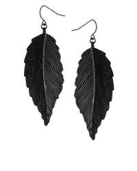 ASOS Collection   Black Asos Engraved Metal Leaf Drop Earring   Lyst