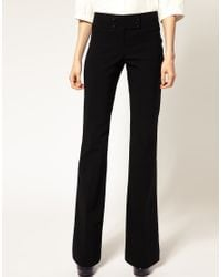 ASOS Collection - Black Asos Kick Flare Trousers with Button Detail - Lyst