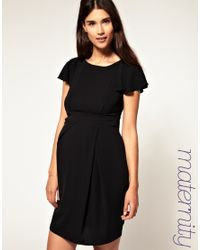 ASOS Collection | Black Asos Maternity Tulip Dress with Fluted Sleeve | Lyst