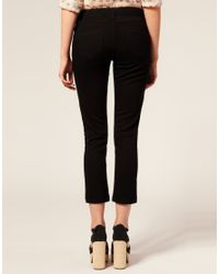 ASOS Collection | Black Asos Petite Cotton Skinny Twill Capri Trousers | Lyst