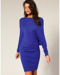 ASOS Collection | Blue Asos Slash Neck Knitted Dress | Lyst