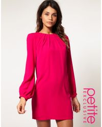 ASOS Collection - Pink Asos Petite Shift Dress with Pleated Neck - Lyst