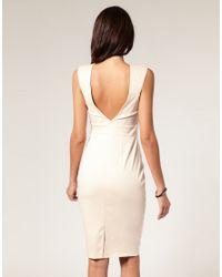 ASOS Collection | Natural Asos Petite Deep V-bar Neck Pencil Dress | Lyst