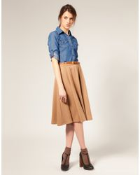 ASOS Collection | Natural Asos Midi Tailored Belted Ponti Fit and Flare Skirt | Lyst