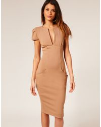 ASOS Collection - Natural Asos Ponti Pencil Dress with Pockets - Lyst