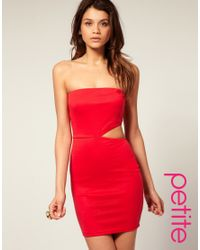 ASOS Collection | Red Asos Petite Bandeau Bodycon Dress with Cut Out Side | Lyst