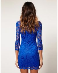 ASOS Collection | Blue Asos Lace Dress with Scalloped Neck | Lyst