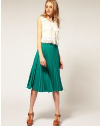 ASOS Collection | Green Asos Pleated Midi Skirt | Lyst