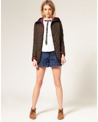 ASOS Collection - Orange Asos Quilted Jacket with Hood and Cord Trim - Lyst
