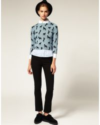 ASOS - Yellow Jumper In Horse Print - Lyst