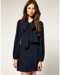ASOS Collection | Blue Asos Mini Pussybow Shirt Dress with Shirred Cuffs | Lyst