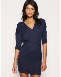 ASOS - Blue V-neck Pleat Waist Knitted Dress - Lyst