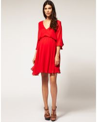 ASOS Collection | Red Asos Maternity Chiffon Kaftan Dress | Lyst