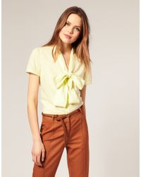 ASOS Collection | Yellow Asos Short Sleeve Pussybow Cotton Blouse | Lyst