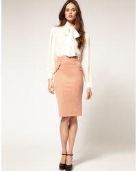 ASOS Collection | Pink Asos Scallop Trim Detail Ponti Pencil Skirt | Lyst