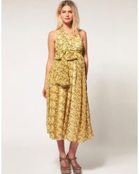 ASOS Collection | Yellow Asos Maternity Printed Midi Dress | Lyst