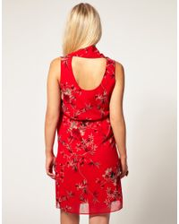 ASOS Collection - Red Asos Maternity Cowl Neck Dress in Oriental Print - Lyst