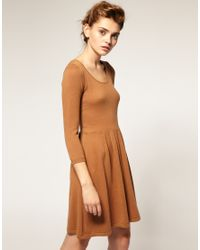 ASOS Collection - Brown Asos Knitted Dress with Zip Back - Lyst
