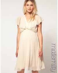 ASOS Collection - Natural Asos Maternity Ruffle Sleeves Cross Front Dress - Lyst