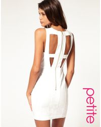 ASOS Collection - White Asos Petite Cut Out Bodycon Dress with Mesh Insert - Lyst