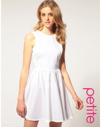 ASOS Collection White Asos Petite Skater Dress with Open Back