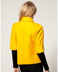 ASOS Collection | Yellow Asos Petite Exclusive 60s Jacket with Ribbed Sleeve | Lyst