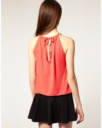 River Island | Orange Chain Neck Tunic Top | Lyst