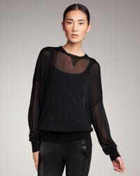 Alexander Wang | Black Sheer Knit Sweatshirt | Lyst