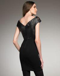 Alice + Olivia - Black Alva Leather-top Dress - Lyst