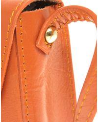 ASOS Collection - Orange Asos Leather Mini Twist Lock Saddle Bag - Lyst