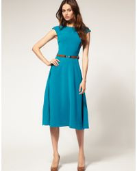 ASOS Collection - Blue Asos Midi Dress with Contrast Belt - Lyst