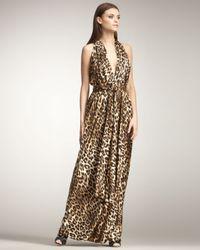 Blumarine | Multicolor Leopard-print Halter Gown | Lyst