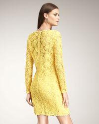 Blumarine | Yellow Long-sleeve Lace Shift Dress | Lyst