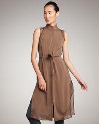 Brunello Cucinelli | Brown Long Sleeveless Silk Tunic | Lyst