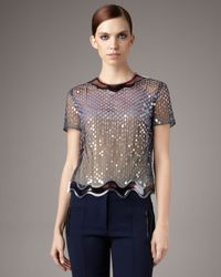 Christopher Kane | Black Aqua-trim Sequin Top | Lyst