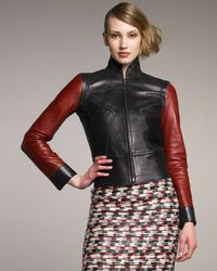 Derek Lam | Black Red-sleeve Leather-knit Jacket | Lyst