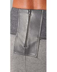 Doo. Ri - Gray Long Draped Skirt with Leather Trim - Lyst