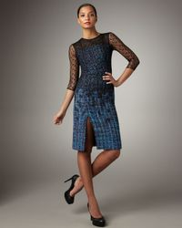 Erdem | Blue Lace-overlay Tweed Dress | Lyst