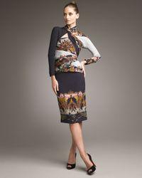 Etro | Black Asymmetric-neck Panel Dress | Lyst