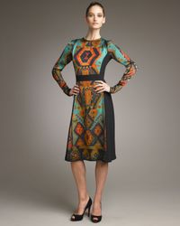 Etro | Green Aztec-printed Long-sleeve Dress | Lyst