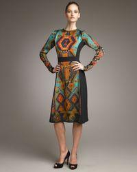 Etro - Green Aztec-printed Long-sleeve Dress - Lyst